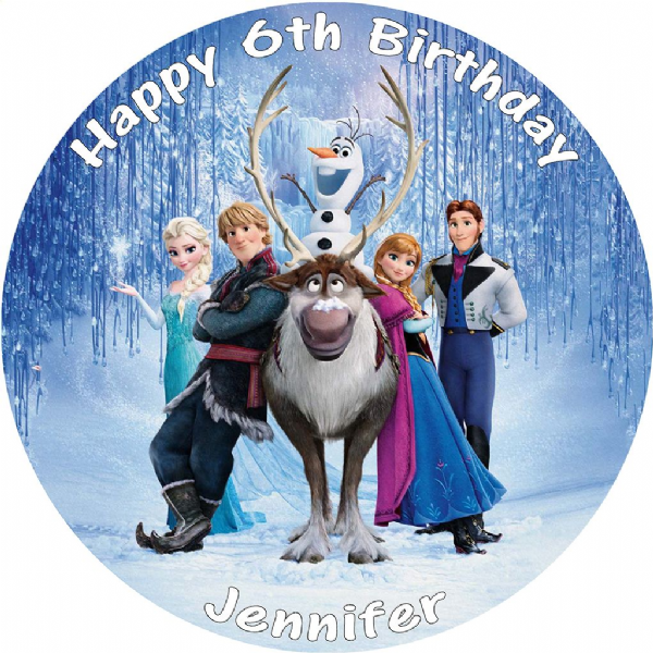 DISNEY FROZEN CAST EDIBLE ROUND PRINTED CAKE TOPPER